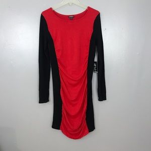 Express Red Black Hourglass Shape Illusion Dress
